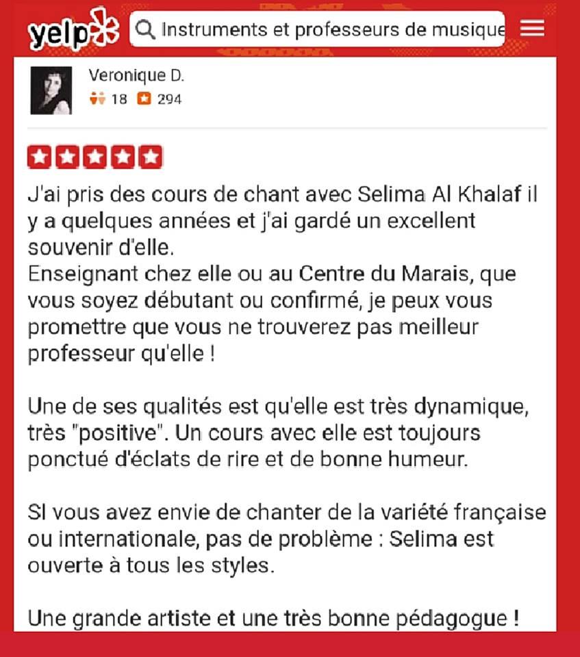 Professeur de chant à Paris selima-cours-yelp